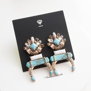 Anthro BaubleBar Turquoise Crescent Stone Earrings